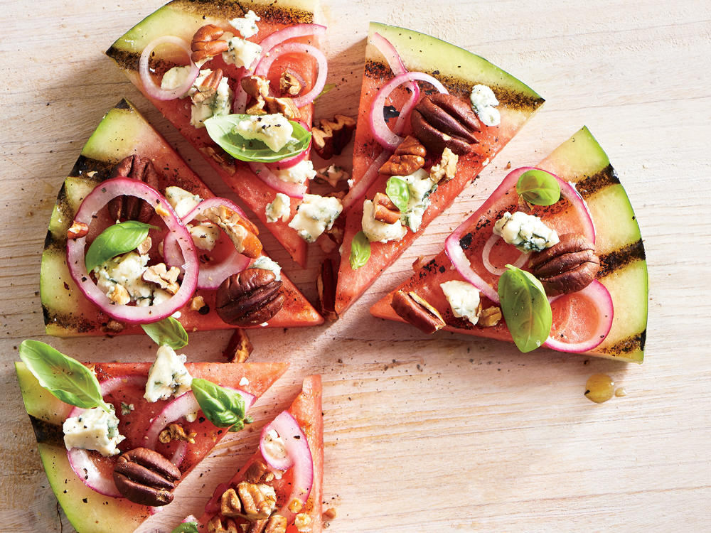 Get creative at your next cookout with this handheld take on watermelon salad. This all-star melon creates the perfect base for the bold flavors that are highlighted in the toppings.