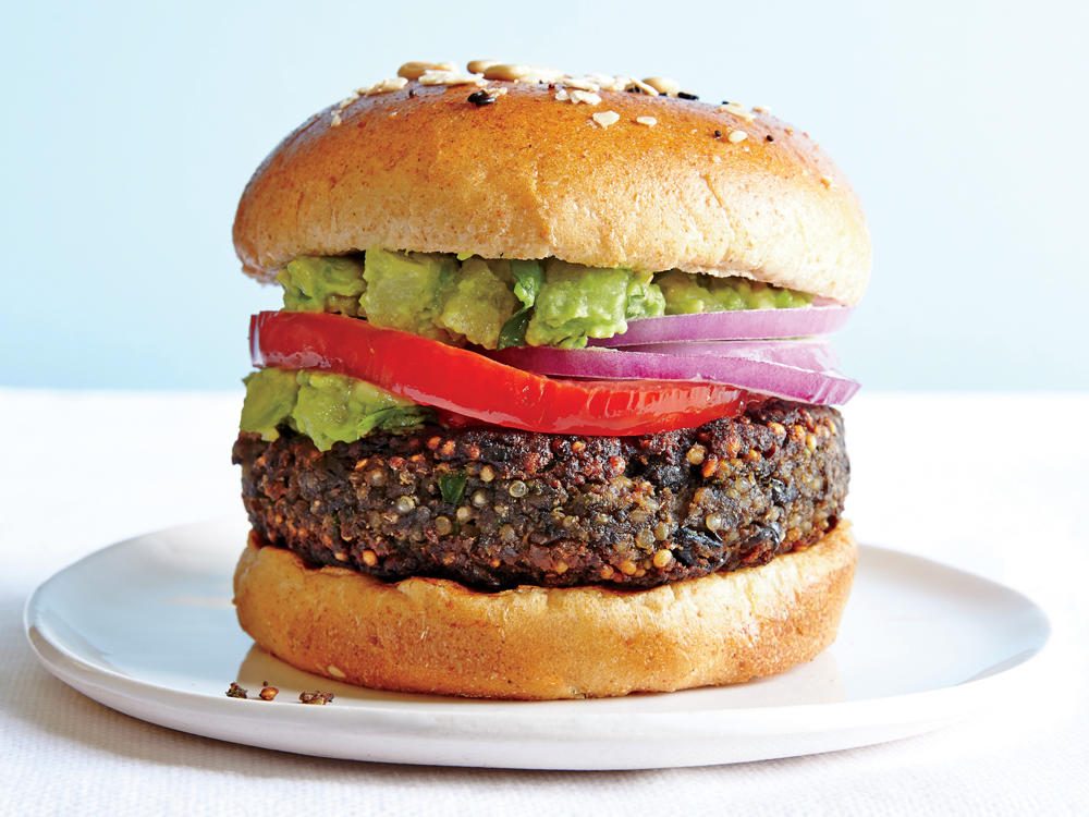 Veggie burgers are, for many, the go-to low-fat option for dinner in a snap. The frozen-food aisle is packed with different varieties made from chickpeas, black beans, soy, and quinoa. But look beyond the main ingredient, and you'll find that most are highly processed, loaded with sodium, and made with a laundry list of ingredients (one popular brand tallied 38) that go well beyond veggies, including things like isolated proteins. They're usually quite small, too—about 2.5 ounces—leaving you hungry again in a few hours. Our mission? Use whole ingredients to create a simple, tasty homemade veggie burger with staying power.
