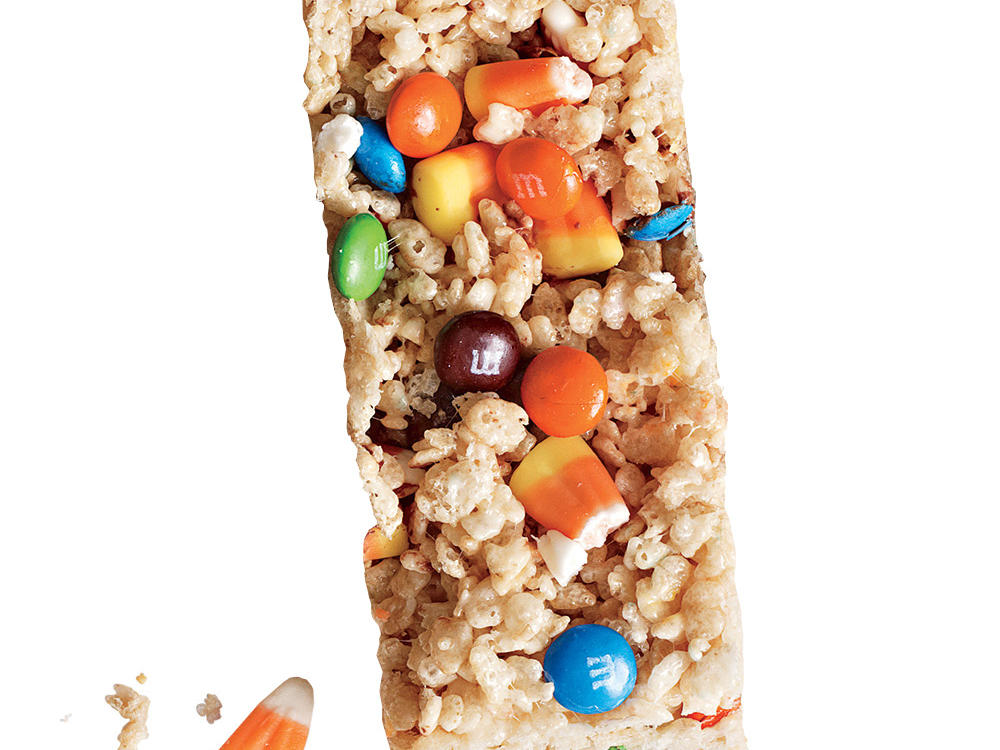 Candy Corn M&M's Chewy Crispy Bars