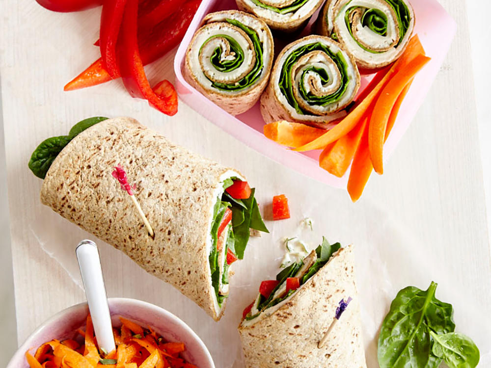 This is the perfect lunch to make ahead of time and pack for a long trip. Serve these turkey and Swiss wraps with a carrot salad for a healthy and kid-friendly lunch. The wholesome, balanced lunch will keep you fueled and ready for the day.