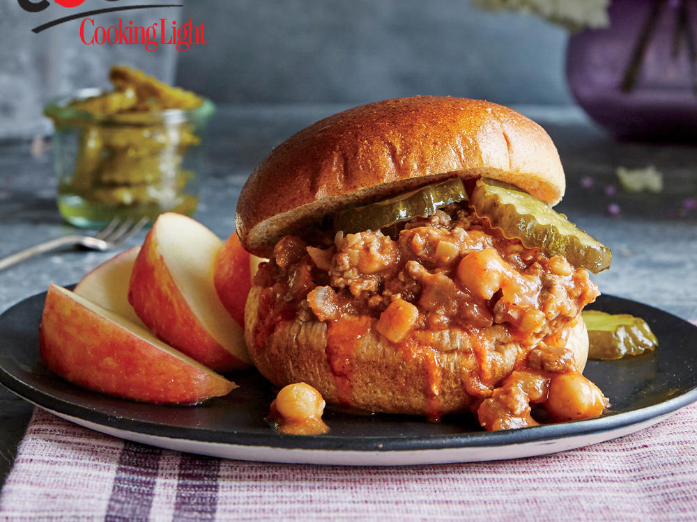 While many sloppy joe recipes are very sweet, this version has just a touch of brown sugar and is capped off with crunchy bread-and-butter pickles. Serve with apples or grapes for an easy side.