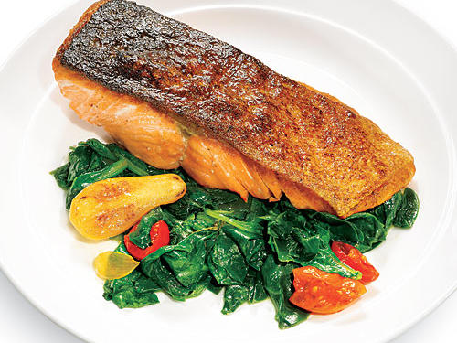 Seared Salmon with Wilted Spinach