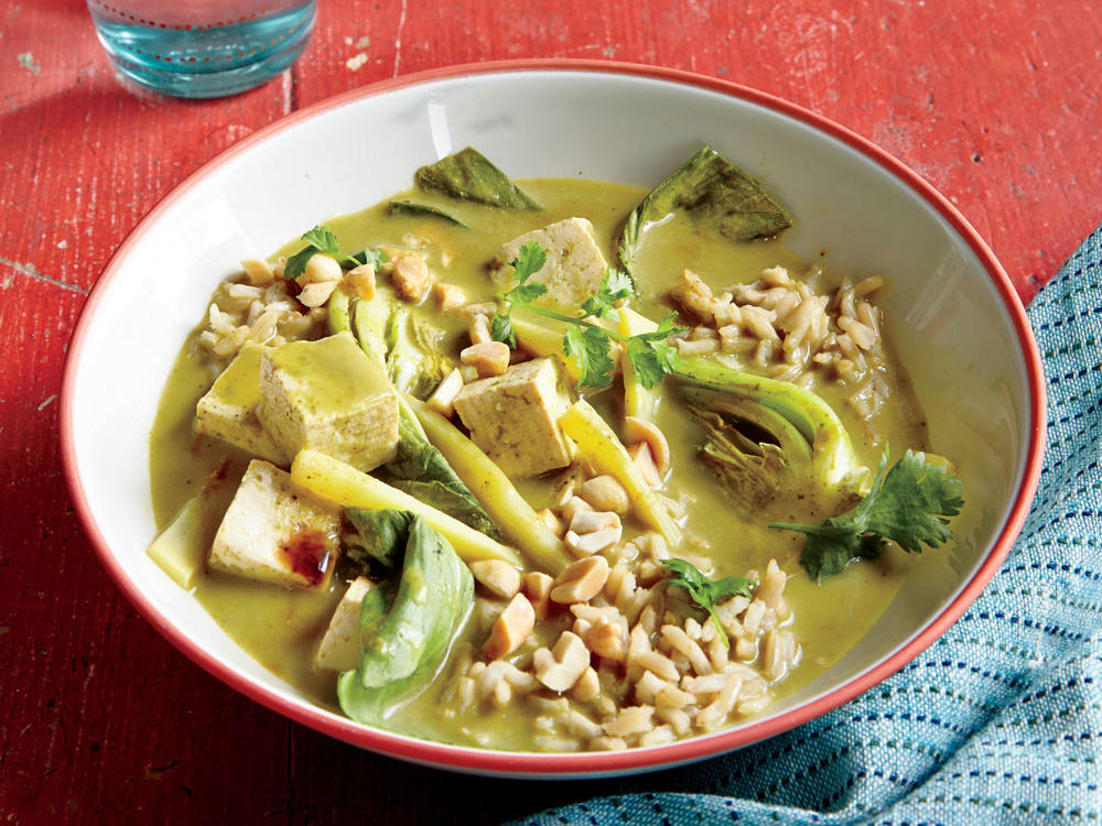 Tofu Curry with Bok Choy and Peanuts