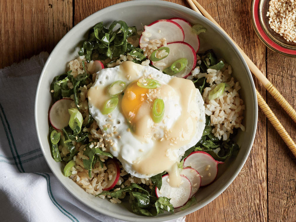 1509 Brown Rice Bowl with Miso, Poached Egg, and Kale-Radish Slaw