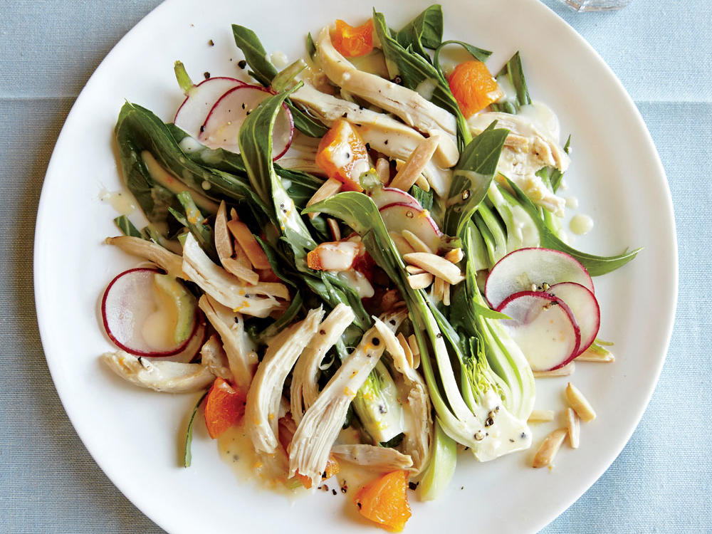 Chicken Salad with Bok Choy, Almonds, and Apricots