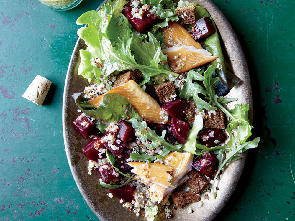 Layering the elements of this flavor-bomb salad guarantees even distribution in every bite and makes for a lovely platter.