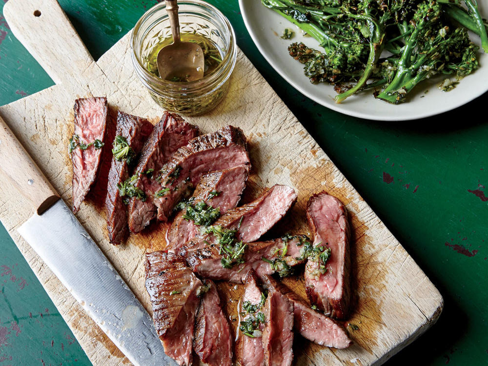Flank Steak with Herb Dressing and Charred Broccolini