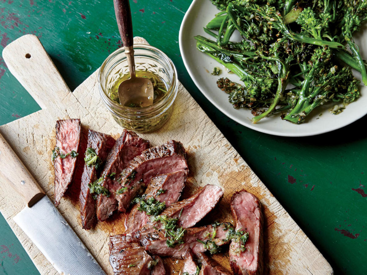 Adding the steak's juices into the dressing it's served with boosts savory satisfaction.