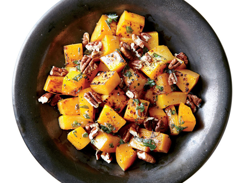This filling dish comes together in just 20 minutes. Peeled and diced butternut squash helps speed the prep for this side, simply dressed with salt, pepper, butter, pecans, and fresh sage.