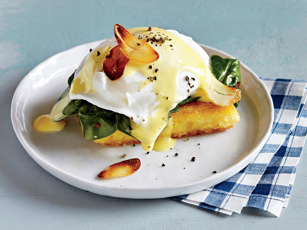 Eggs Florentine over Seared Polenta