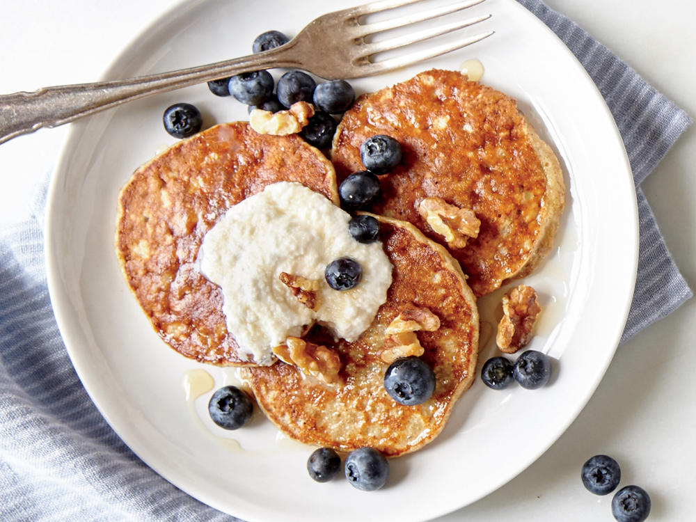 Made from whole grains, fruit, and one protein-packed egg, these single-serving pancakes are ready in less than 10 minutes. You'll love how they resemble the custardy center bite of French toast; fluffy, eggy, and golden delicious.