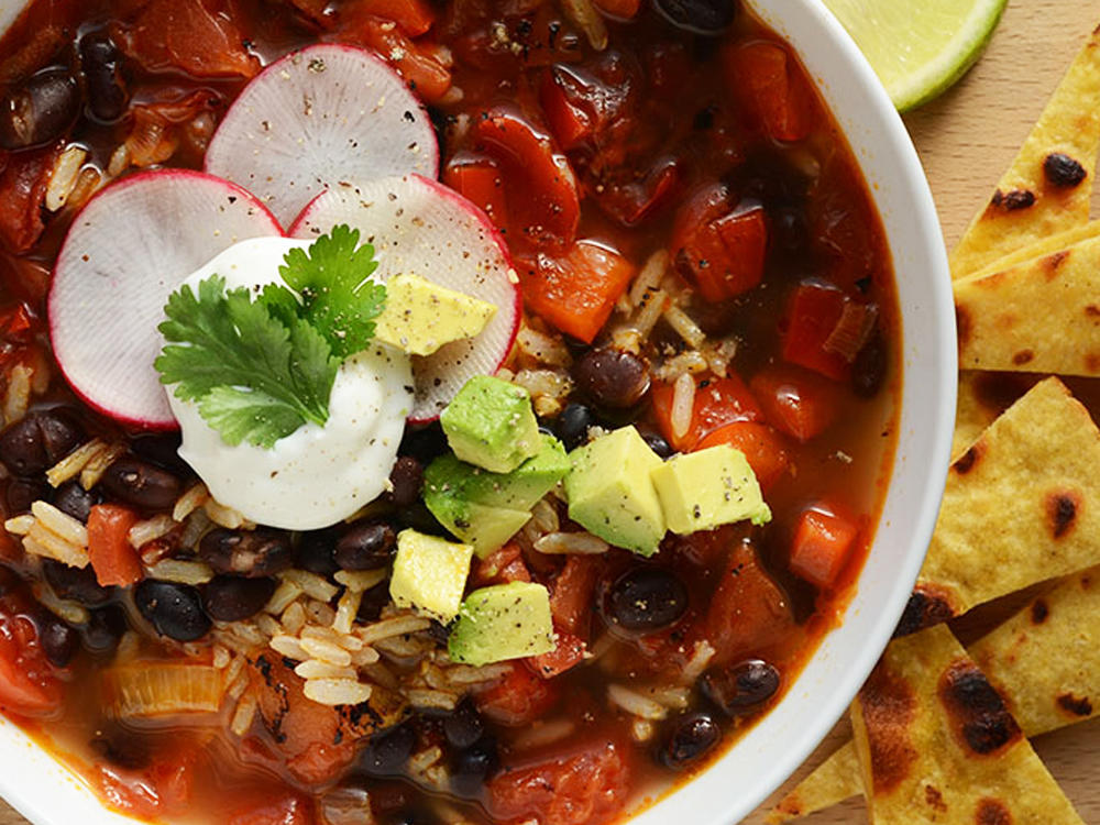Southwestern Black Bean Soup with Crunchy Tortilla Topping