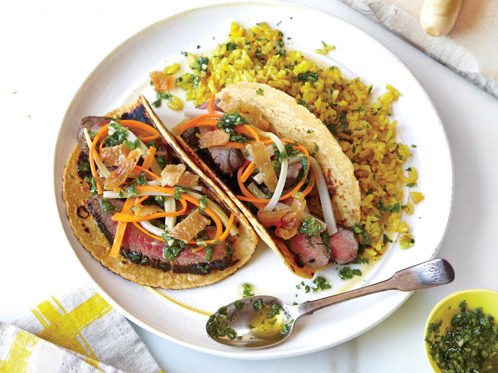 Dinner 2: Chimichurri Steak Tacos with Pickled Vegetables