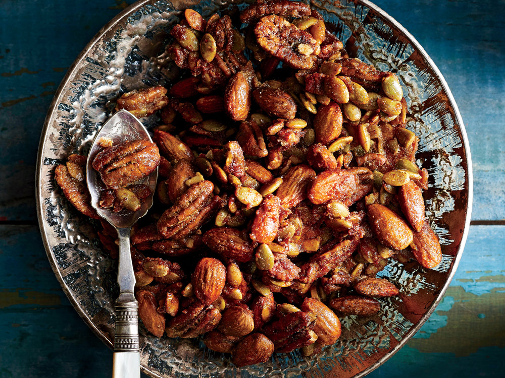 Achieve a bronze-like patina on these candied nuts by keeping a close watch near the end of their roasting time. Too long and they'll overdarken and take on a bitter flavor.