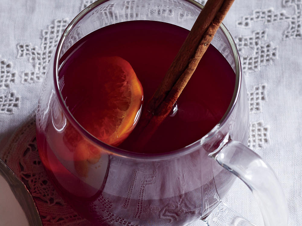 Garnish this punch with a cinnamon stick or orange slices.