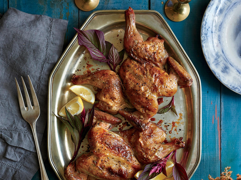Sage and Garlic-Rubbed Cornish Hens