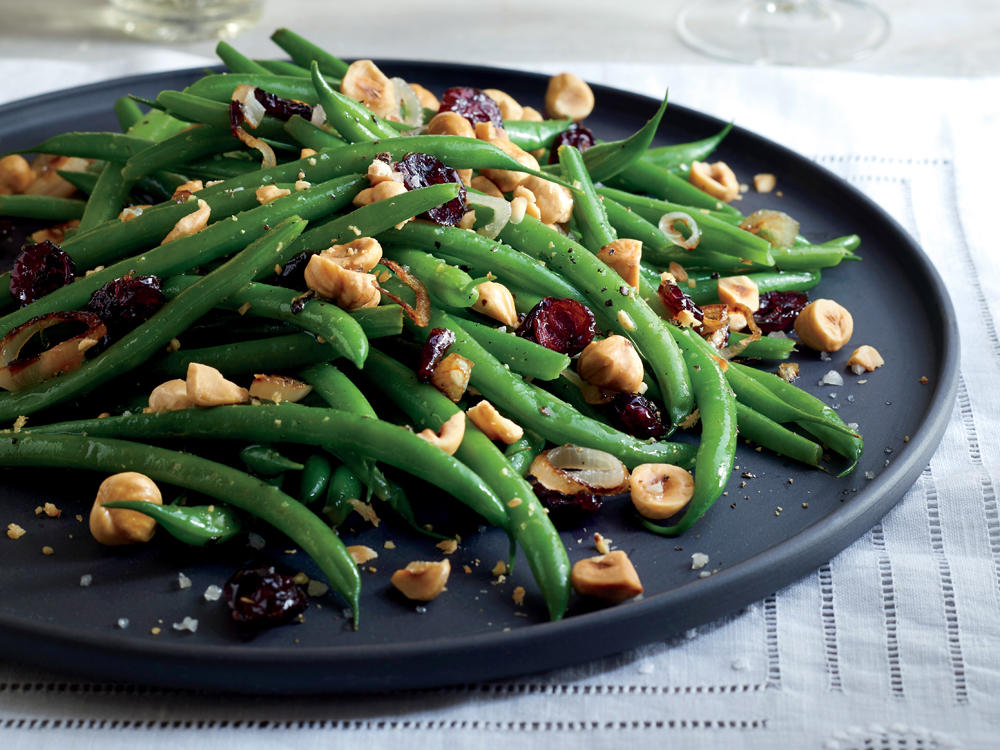 Green Beans with Dried Cranberries and Hazelnuts