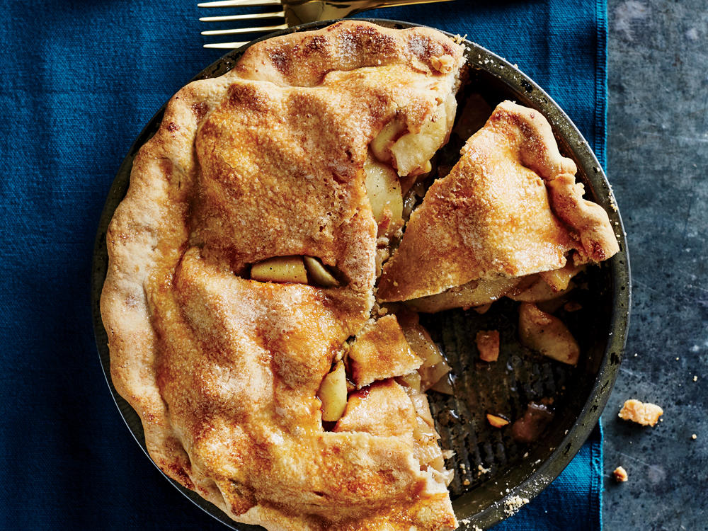 A double crust seals in the apples' natural juices as the pie bakes for full-on apple flavor. Tossing the apples with apple juice keeps them from browning as you peel and slice them, and it adds a boost of apple flavor.