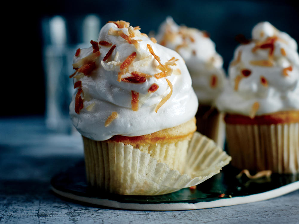 Mile-High Coconut Cupcakes