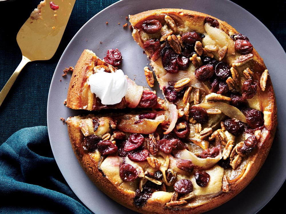 Get creative with the toppings for this classic yeast cake: Try tart Granny Smith apples or sweet pineapple in place of pears, or a dollop of tangy Greek yogurt instead of whipped topping.