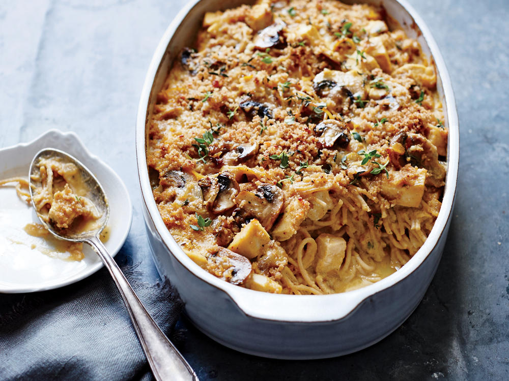 The genius trick to this unique turkey tetrazzini is using flavor-packed Cauliflower Salad in the sauce. Pureed, it becomes creamy and luscious. Any leftover turkey, or even rotisserie chicken, will work here.