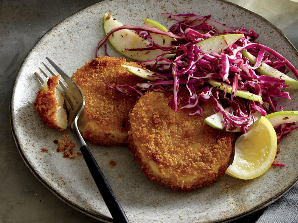 Celery Root Schnitzel with Cabbage-Apple Slaw