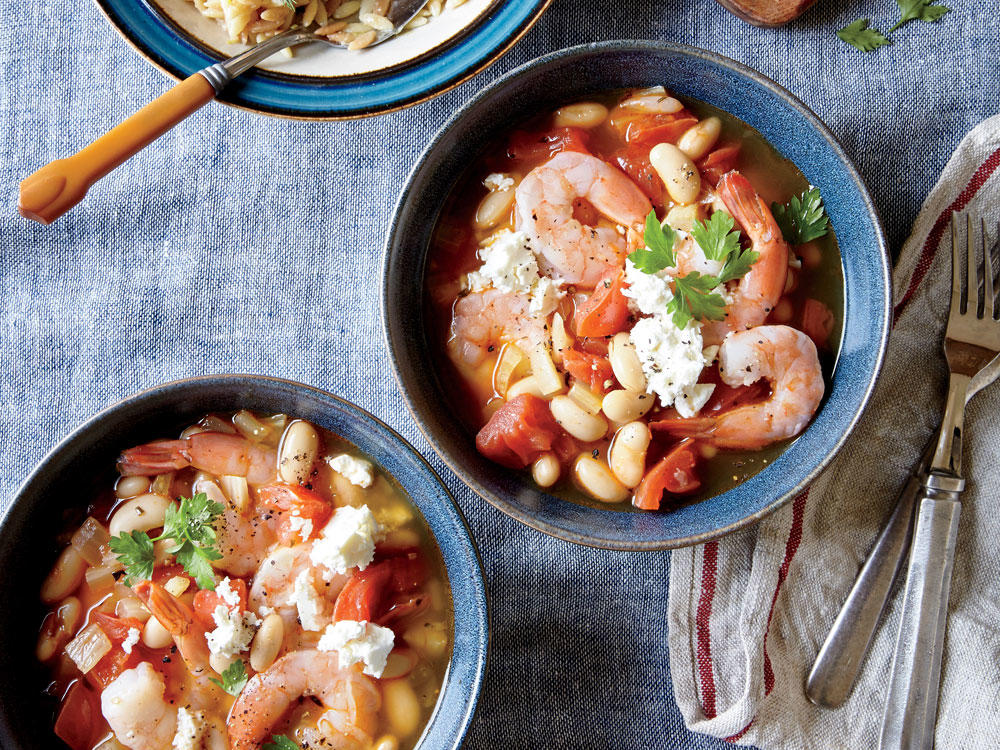 This simple, Tuscan-inspired stew is the perfect casual supper for two, though it can easily be doubled. Enjoy leftovers with a piece of whole-grain French bread baguette for dunking. Chop the fresh fennel fronds and stir a little into the shrimp mixture, top a fresh salad, or make a peso.