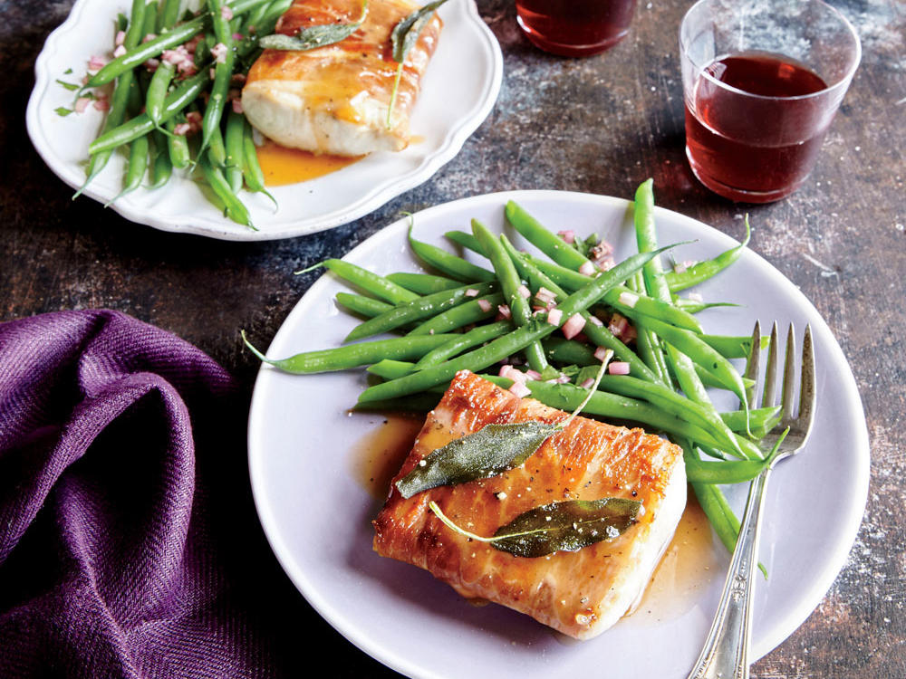When in doubt, wrapping anything in prosciutto and drizzling it with browned butter sauce is a solid plan. You can easily substitute a different meaty fish. Serve with fresh green beans.