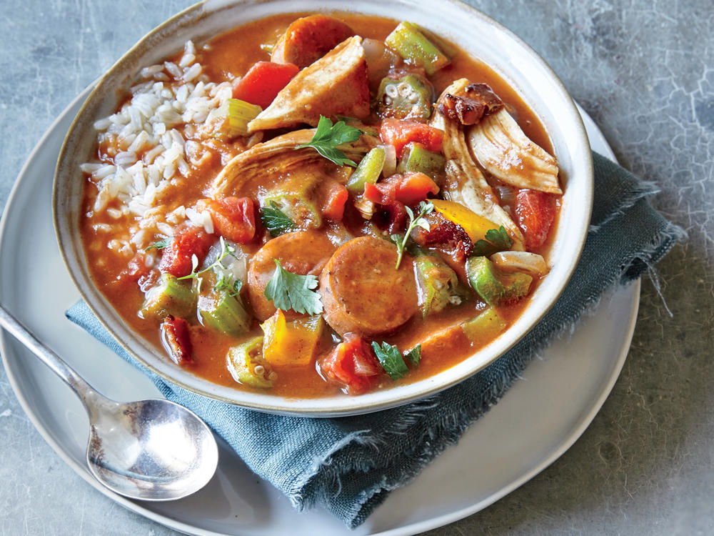 This gumbo is a great use for leftover roasted turkey, though cooked chicken will also work. We skip the long-stirred roux here in favor of filé powder, a thickener made from the sassafras plant; look for it on the spice aisle. For the best results, stir in the filé powder off the heat.