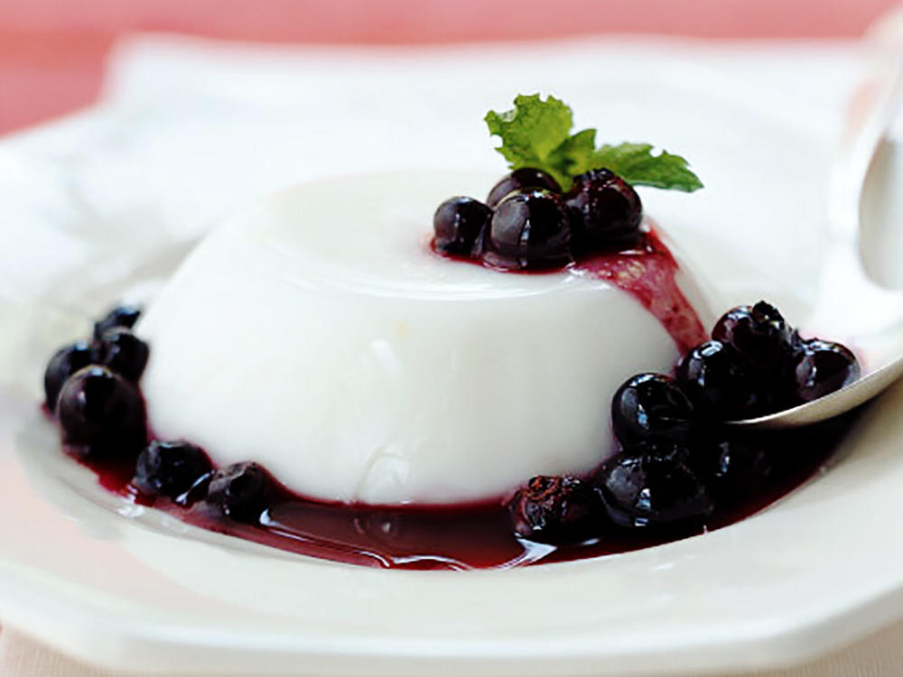 Lemon-Buttermilk Panna Cotta with Blueberry Sauce