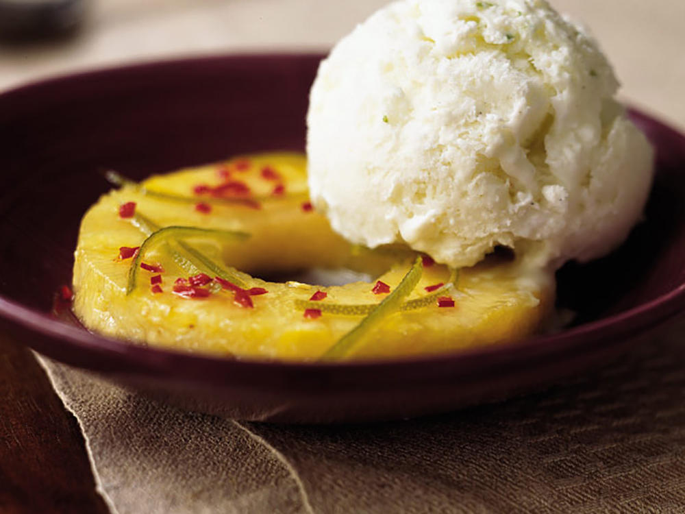 Chile-Lime Pineapple with Cardamom-Lime Ice Cream
