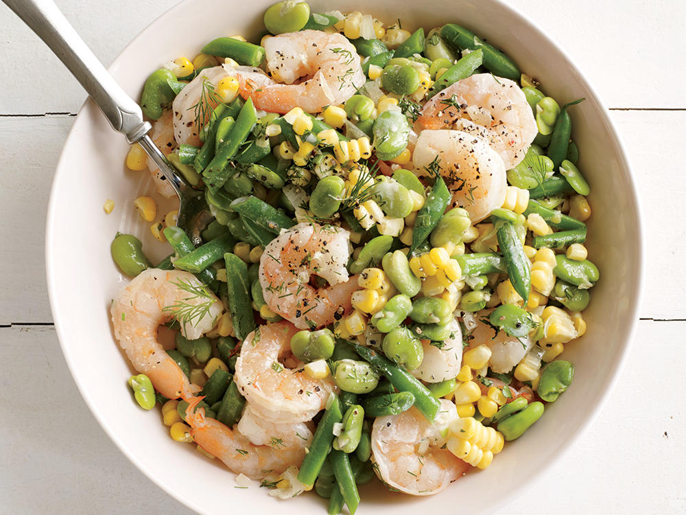 This succotash is richly satisfying yet healthy and not heavy. Fresh beans bring verdant brightness, while briny shrimp marry perfectly with sweet corn.