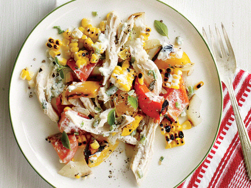 Grilled Corn, Chicken, and Bell Pepper Salad