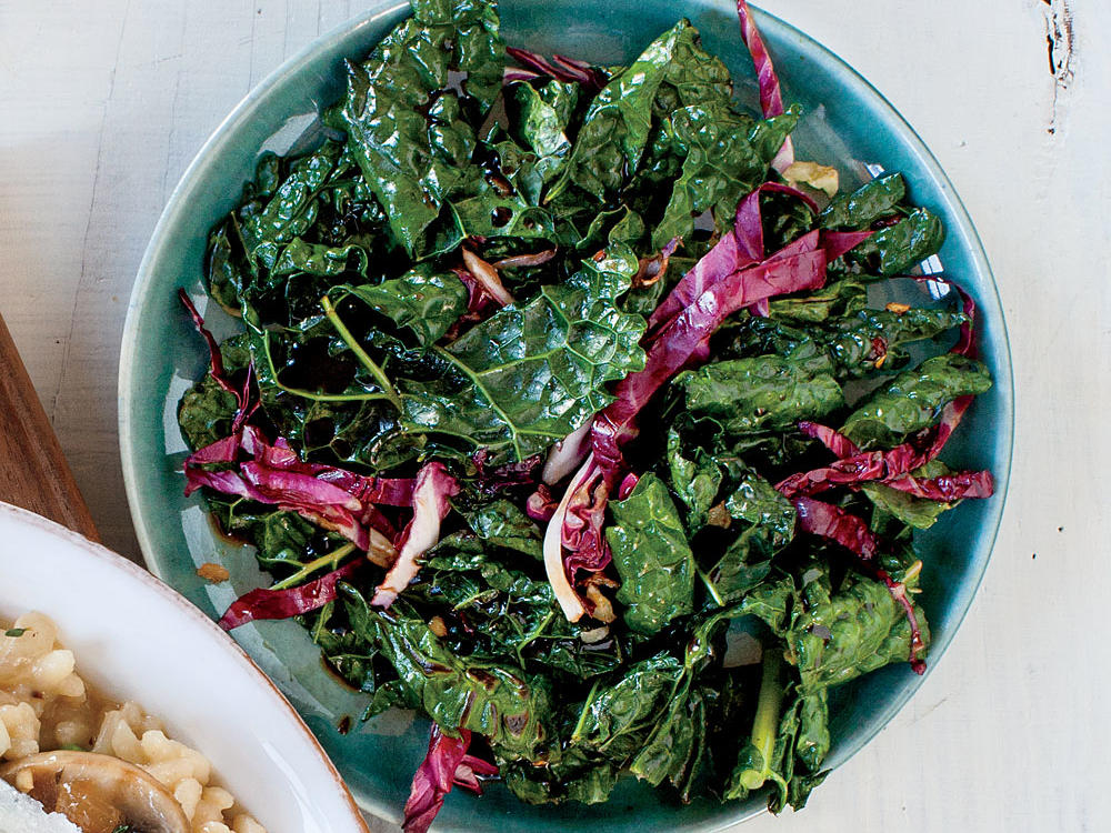 Serve a delicious and healthy side dish made with kale, radicchio, and garlic.