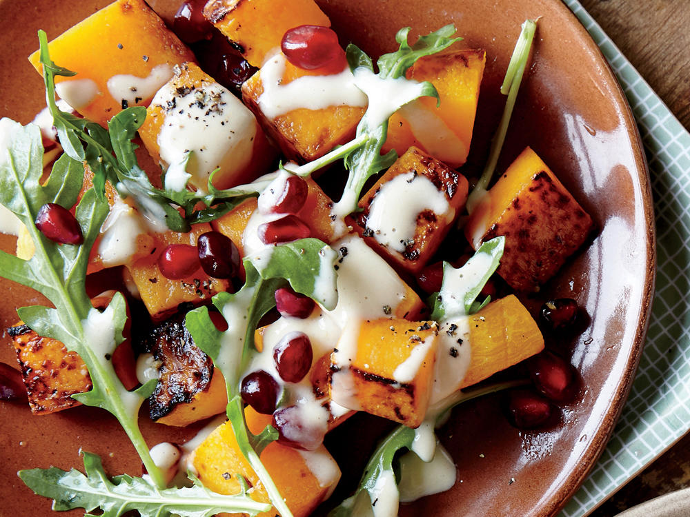 Roasted Butternut Squash with Pomegranate and Tahini