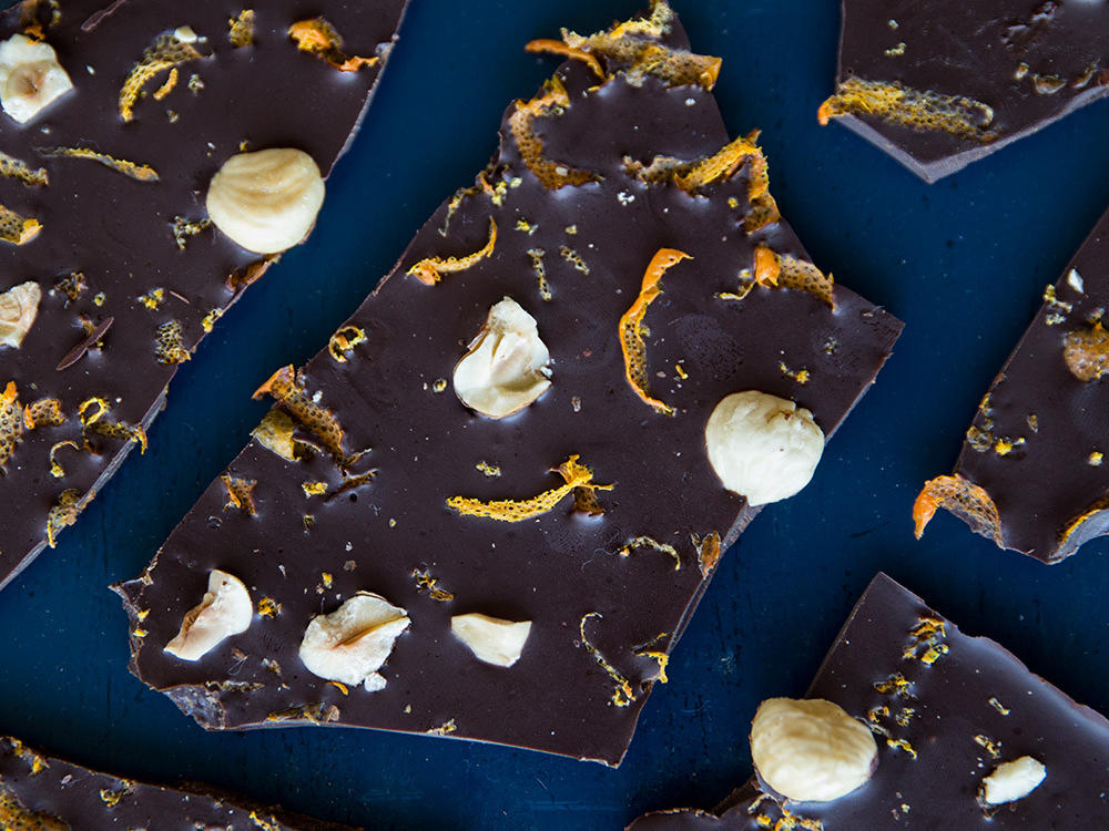 Orange-Hazelnut Chocolate Bark