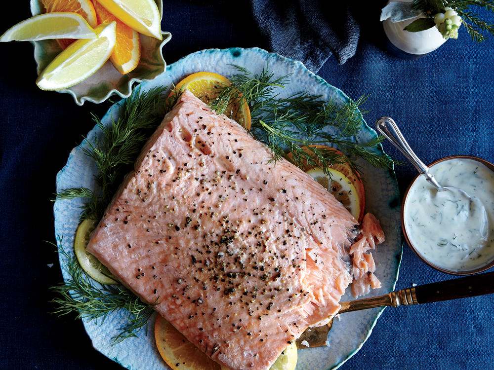 Slow-Roasted Salmon with Dill Cream