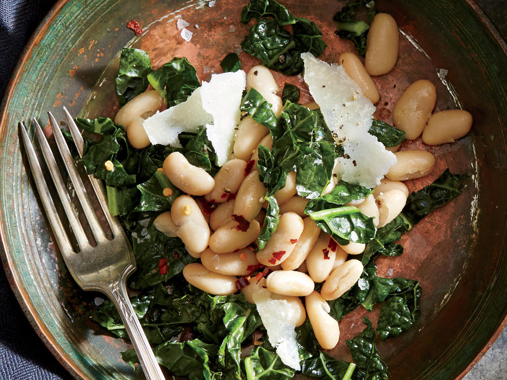 Anchovy-Parmesan White Bean and Kale Salad