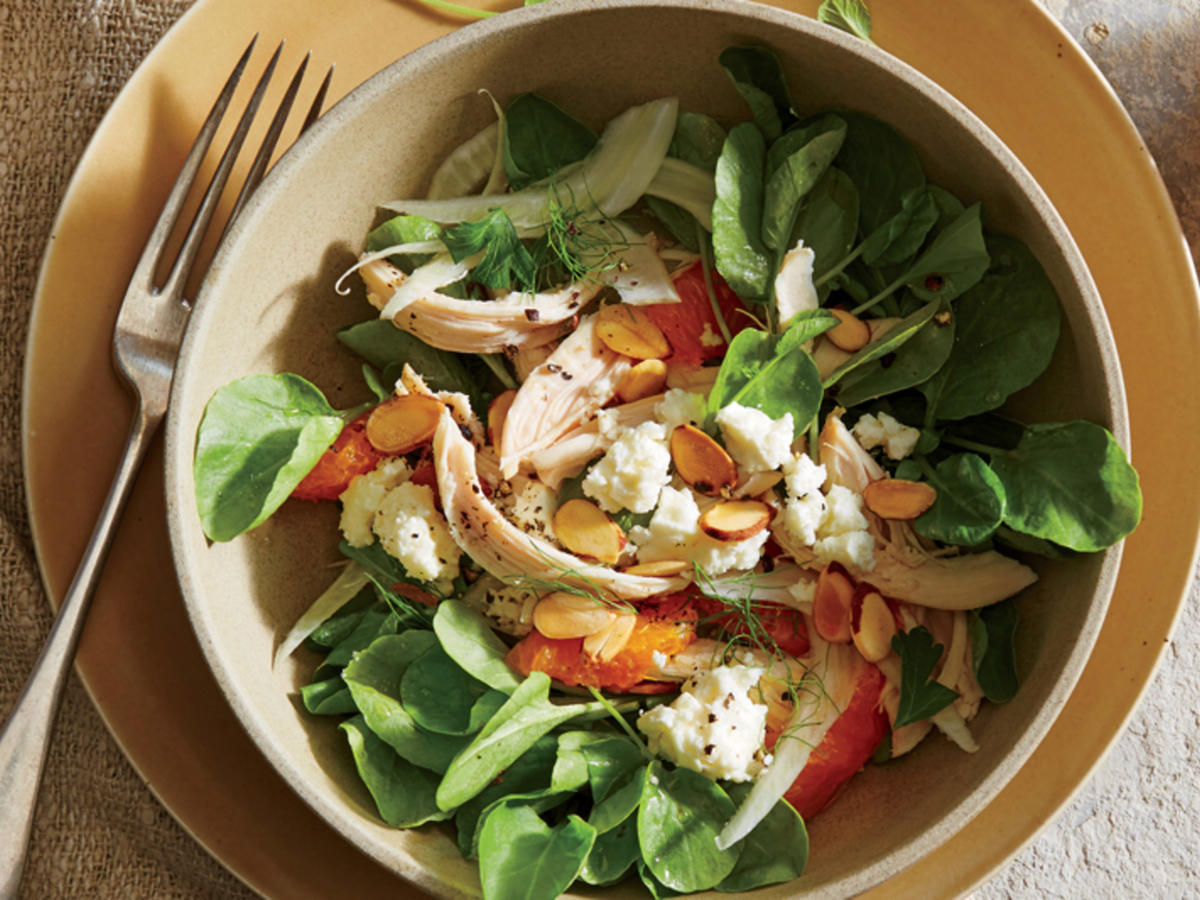 Fennel and Clementine Salad with Chicken, Almonds, and Feta