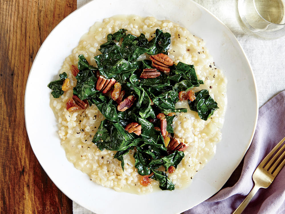 Using short-grain brown rice instead of Arborio gives the risotto a pleasant heartiness and a dose of whole grains without losing the creamy goodness of the classic dish.