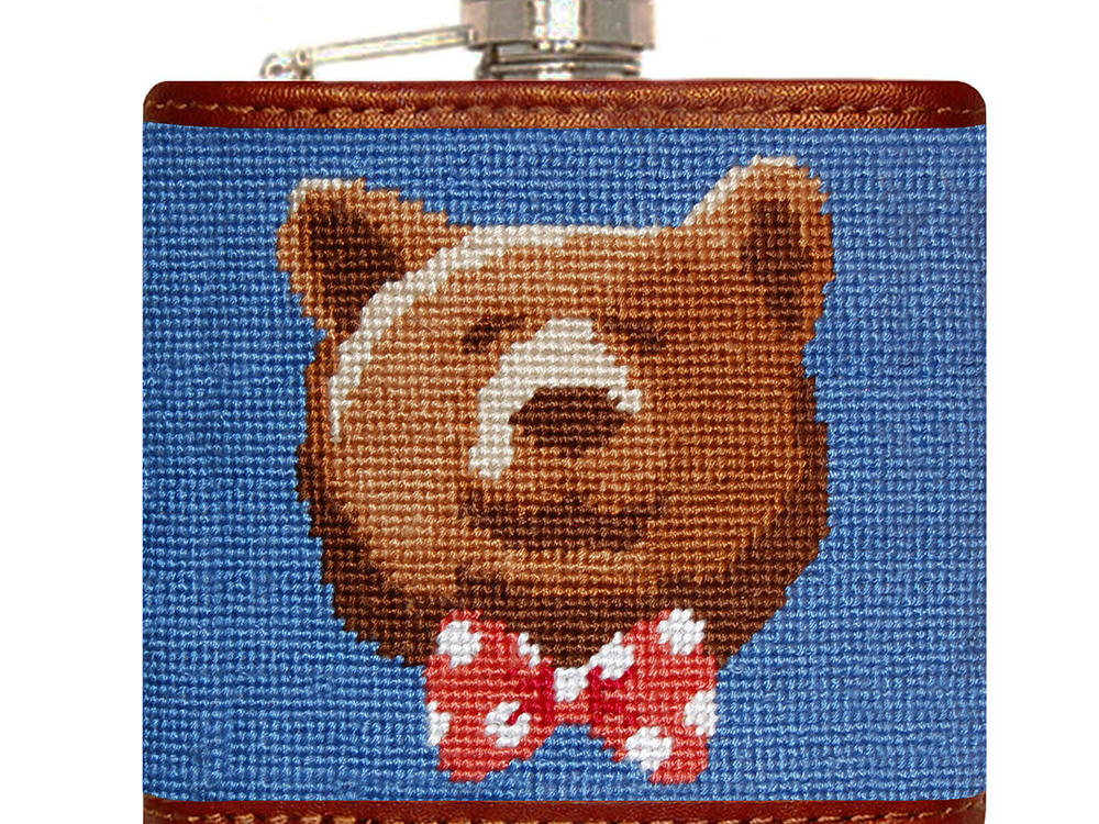 Smathers & Branson Dapper Bear Needlepoint Flask