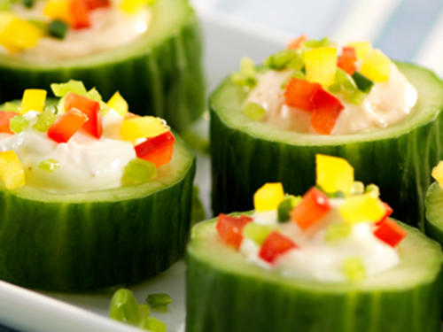 Cucumber Cups with Creamy Dip Filling