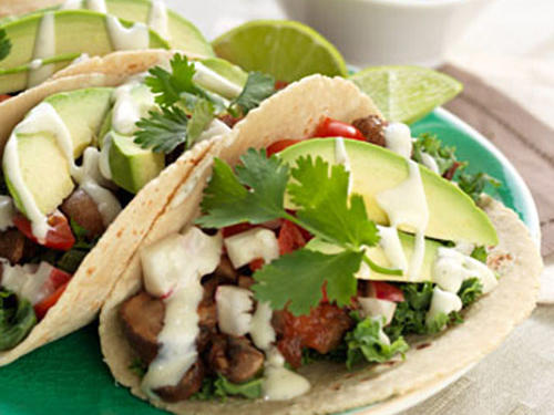 Mix up Taco Tuesday with these vegetarian mushroom tacos! We love them with avocado, radishes, and cherry tomatoes, but top with whatever veggies you prefer.