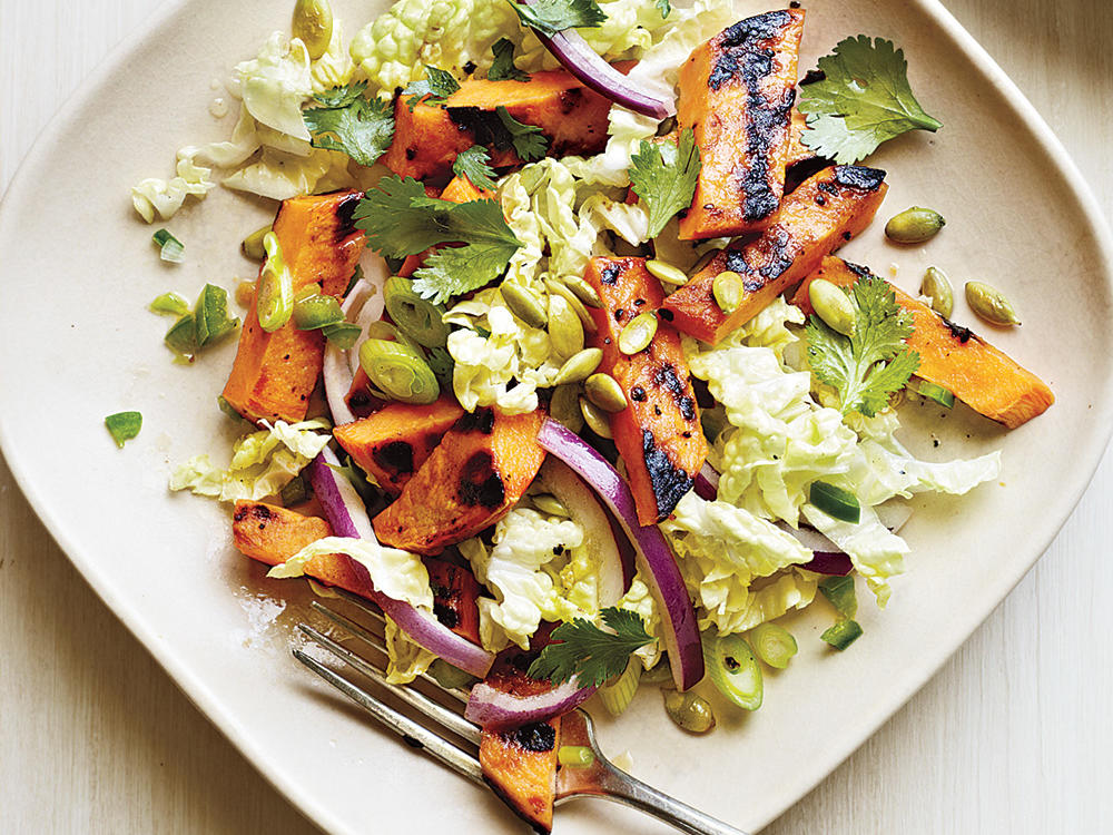Grilled Sweet Potato and Napa Cabbage Salad with Lime Vinaigrette