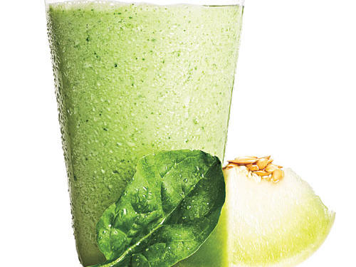 Make a better smoothie. Use unsweetened beverages and whole fruit instead of juice, and pump up the nutrients with a handful of greens. Try this combination for an easy, 162-calorie smoothie for one: 1 cup fresh baby spinach leaves + 1 1/2 cups chopped fresh honeydew + 1/3 cup nonfat vanilla Greek yogurt.