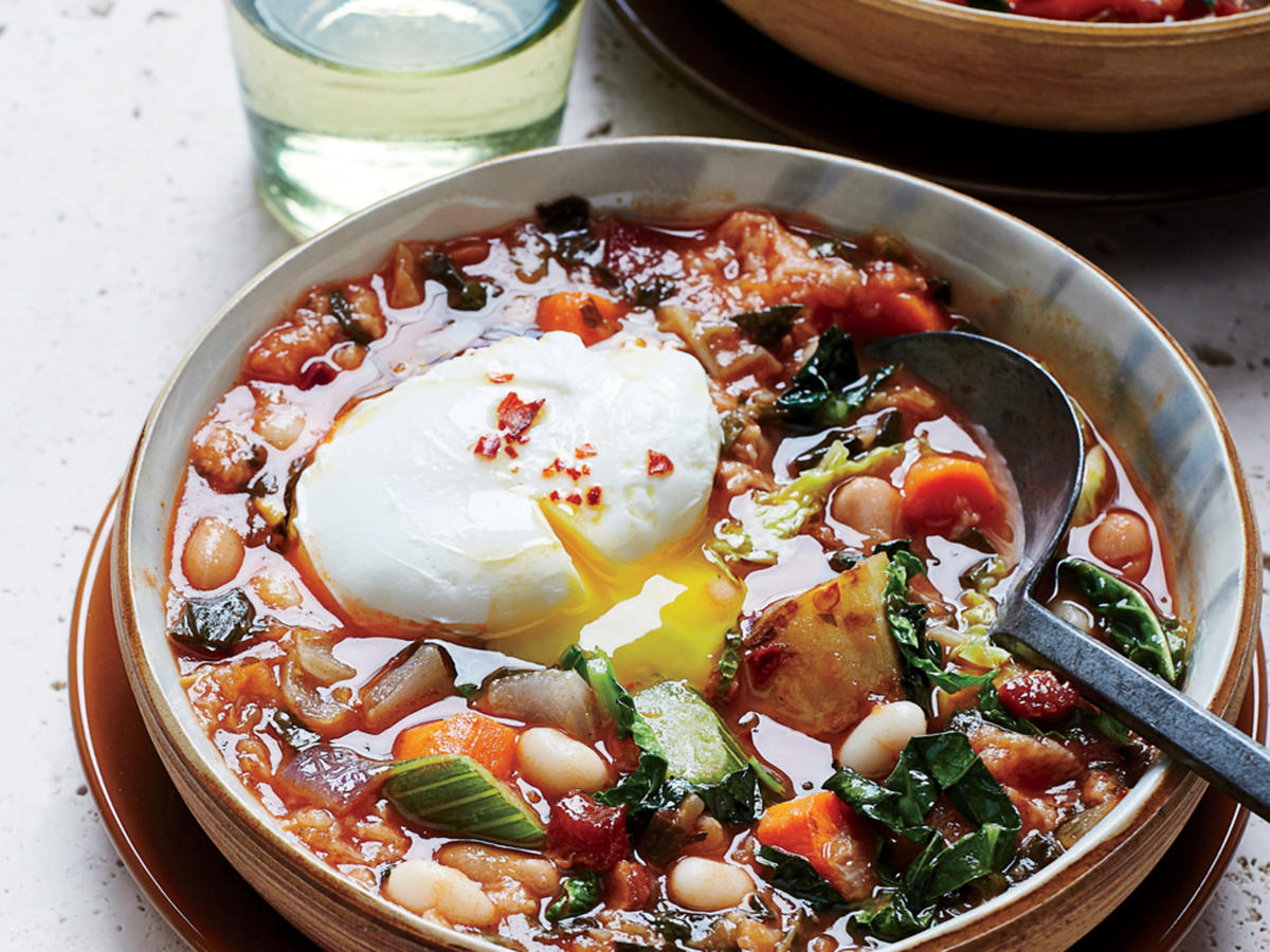 Ribollita with Poached Eggs