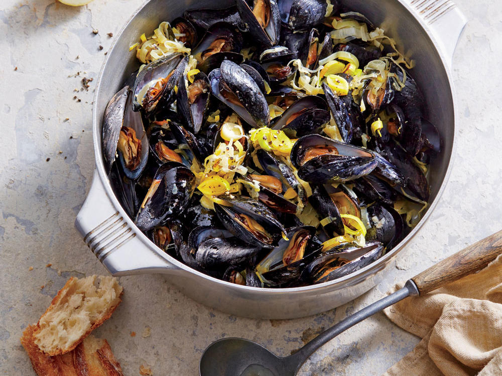 Be sure to grab a loaf of crusty bread to serve with the mussels. Silky, savory broth like this is made for sopping.