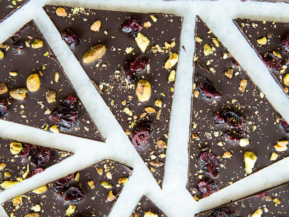 Cranberry-Pistachio Chocolate Bark