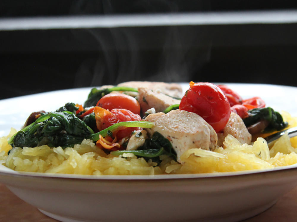 Spaghetti Squash with Chicken and Veggies