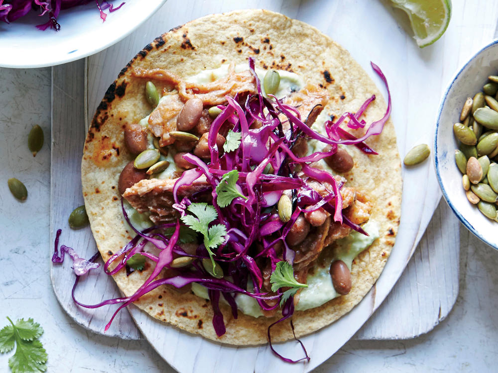 Shredded Pork and Pinto Tacos with Pepita Slaw